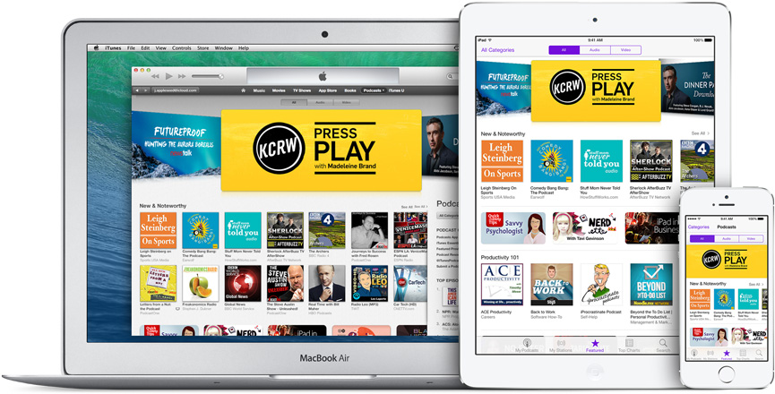 photo of a laptop, tablet and phone all showing the Apple Podcast app
